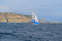 Clean Seas and Brunel Volvo Ocean Race Alicante 2017. The yachts on different tacks In Alicante bay on the first leg of the round the World race Royalty Free Stock Photography