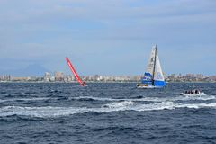 Clean Seas Volvo Ocean Race Alicante 2017. Yachts on different tacks In Alicante bay on the first leg of the round the World race Royalty Free Stock Photo