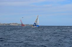 Clean Seas Volvo Ocean Race Alicante 2017. Yachts on different tacks In Alicante bay on the first leg of the round the World race Royalty Free Stock Photography