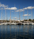 Yachts on dock in athens Greece. Stock Image
