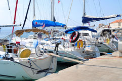 Yachts on dock Royalty Free Stock Images