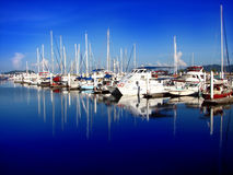 Yachts docked. With blue sky royalty free stock images
