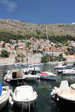 Dubrovnik, Croatia, June 2015. Yachts docked in the bay of the old city. royalty free stock photos
