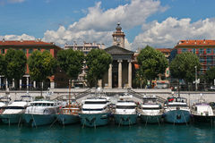Yachts docked at harbor, Nice. Royalty Free Stock Image