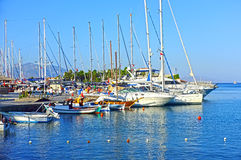 Yachts are docked in marina Stock Images