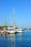 Yachts are docked in marina Royalty Free Stock Photo