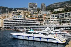 Yachts docked at Port Hercules in La Condamine ward of Monaco. Stock Photo