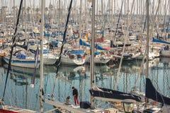 Yachts docked at Port Olympic marina - Barcelona Royalty Free Stock Images