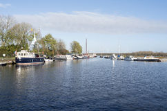 Yachts are docked at the port of Spakenburg. Royalty Free Stock Images