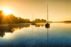 Yachts at down HDR Royalty Free Stock Photography