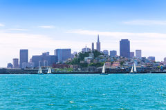 Yachts and downtown view of San Francisco Stock Image