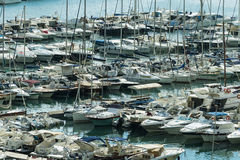Yachts dropped anchor in seaport of Salerno, Stock Image