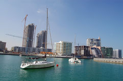 Yachts in dubai. Construction in Dubai, yachts in marina Royalty Free Stock Photography