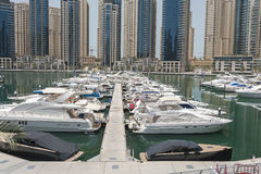 Yachts in Dubai Harbour, United Arabic Emirates Stock Photo