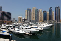 Yachts at Dubai Marina Stock Photo