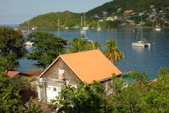Yachts enjoying a calm anchorage in the windward islands Stock Photography