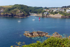 Yachts at entrance to Fowey river Cornwall Royalty Free Stock Images
