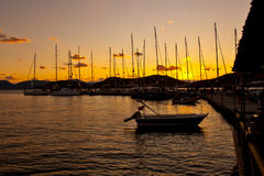 Yachts in evening Royalty Free Stock Images