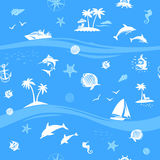 Yachts, fishes and beach seamless vector background. Yachts, palms and sea life seamless vector pattern Royalty Free Stock Photos