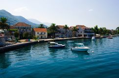 Yachts and fishing boats, Bay of Kotor, Tivat, Seljanovo, Montenegro royalty free stock photos