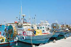 Yachts and fishing boats in marina Royalty Free Stock Photography