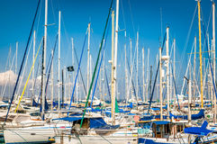Yachts and fishing boats moored in Larnaca Marina, Cyprus Royalty Free Stock Photography