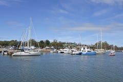 Yachts and fishing boats in Tribunna Tasmania Australia stock image