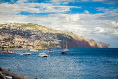 Yachts floating in the harbour of Funchal Royalty Free Stock Photo