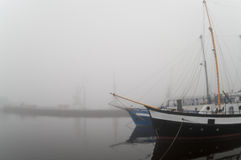 Yachts in the fog Royalty Free Stock Image