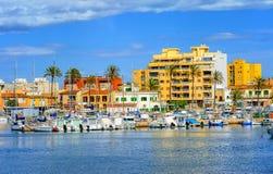 Palma de Mallorca, Majorca island, Spain. Yachts in front of apartment village in Palma de Mallorca, Majorca island, Spain Royalty Free Stock Photos