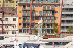 Yachts in front of luxury apartments in Antwerp, Belgium Stock Images