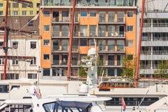 Yachts in front of luxury apartments in Antwerp, Belgium Stock Images