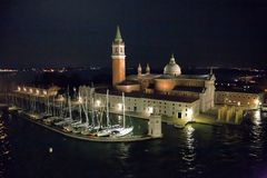 Yachts in front of St. Georgios at night royalty free stock photos