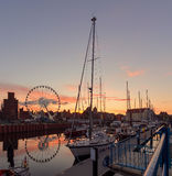 Yachts in Gdansk after sunset. Poland Stock Images
