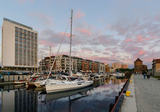 Yachts of Gdansk at sunset, Poland Stock Photo