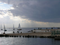 Yachts in the Gulf of Finland. And cloudy wether Royalty Free Stock Images