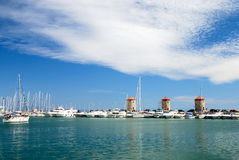 Yachts in the harbor. Of Rhodes royalty free stock photography
