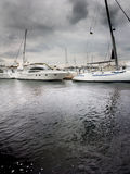 Yachts in harbor Royalty Free Stock Images