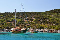 Yachts in harbor in Aegean sea near Bodrum Royalty Free Stock Images