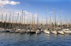 Yachts in harbor of Barcelona Royalty Free Stock Image