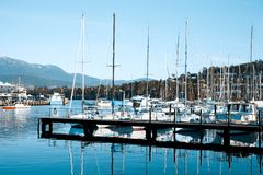 Yachts in harbor at Bellerive Royalty Free Stock Photos