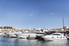 Yachts in the harbor of Cannes, France Stock Images
