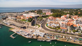 Yachts in the harbor of Cascais, Portugal. Aerial view  marina Royalty Free Stock Photos