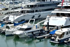 Yachts in harbor Royalty Free Stock Photos