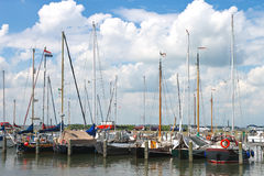 Yachts in  harbor of the island Marken. Stock Photography