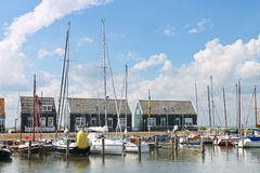 Yachts in  harbor of the island Marken. Royalty Free Stock Photo