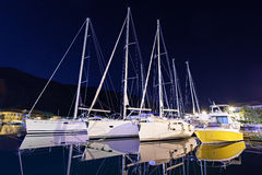 Yachts in the harbor Stock Photos