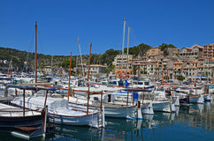 Yachts in a harbor. Numerous yachts in the port in Soller, Spain royalty free stock images