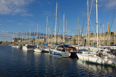 Yachts in harbor of Saint Malo old town Stock Photo