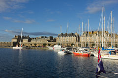 Yachts in harbor of Saint Malo old town Royalty Free Stock Photography